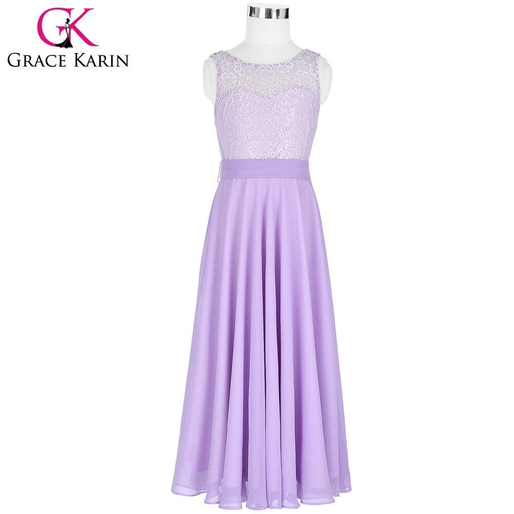 2018 Purple Flower Girl Dresses Crew Neck Floor Length Kids Lace