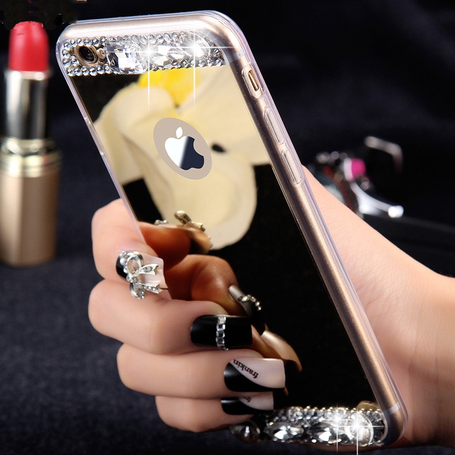 FLOVEME Mirror Makeup Case For iPhone 5 5S SE iPhone 7 Plus Case Slim Bling Rhinestone Case For iPhone 6 6S Accessories Cover