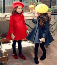 thick little girls red woolen coat 2016 new princess one-breasted comfortable high quality windbreaker for small kids