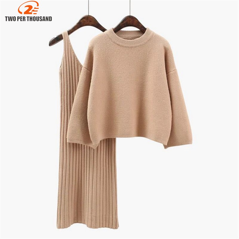 2018 Two Piece Set Knit Dress Winter Sweater Suit For Women Set Three Quarter Pullover Wool Sweater Elastic Cashmere Suit Female