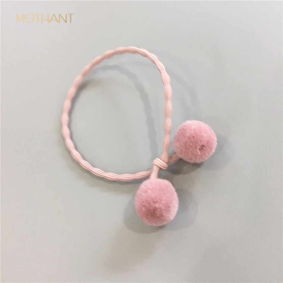 Korean hair accessories cute color yarn ball bow double ball hair rope hair band leather head tie pink accesorios para el in Women 39 s Hair Accessories from Apparel Accessories