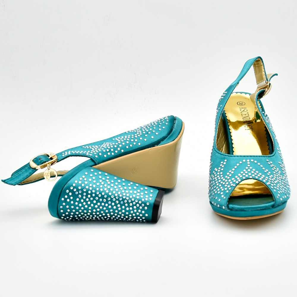 3c8e67f0eb Teal green african aso ebi party high heel with size 37 to 42 shoes bag to  match lady african aso ebi shoes and bag set SB8292-4