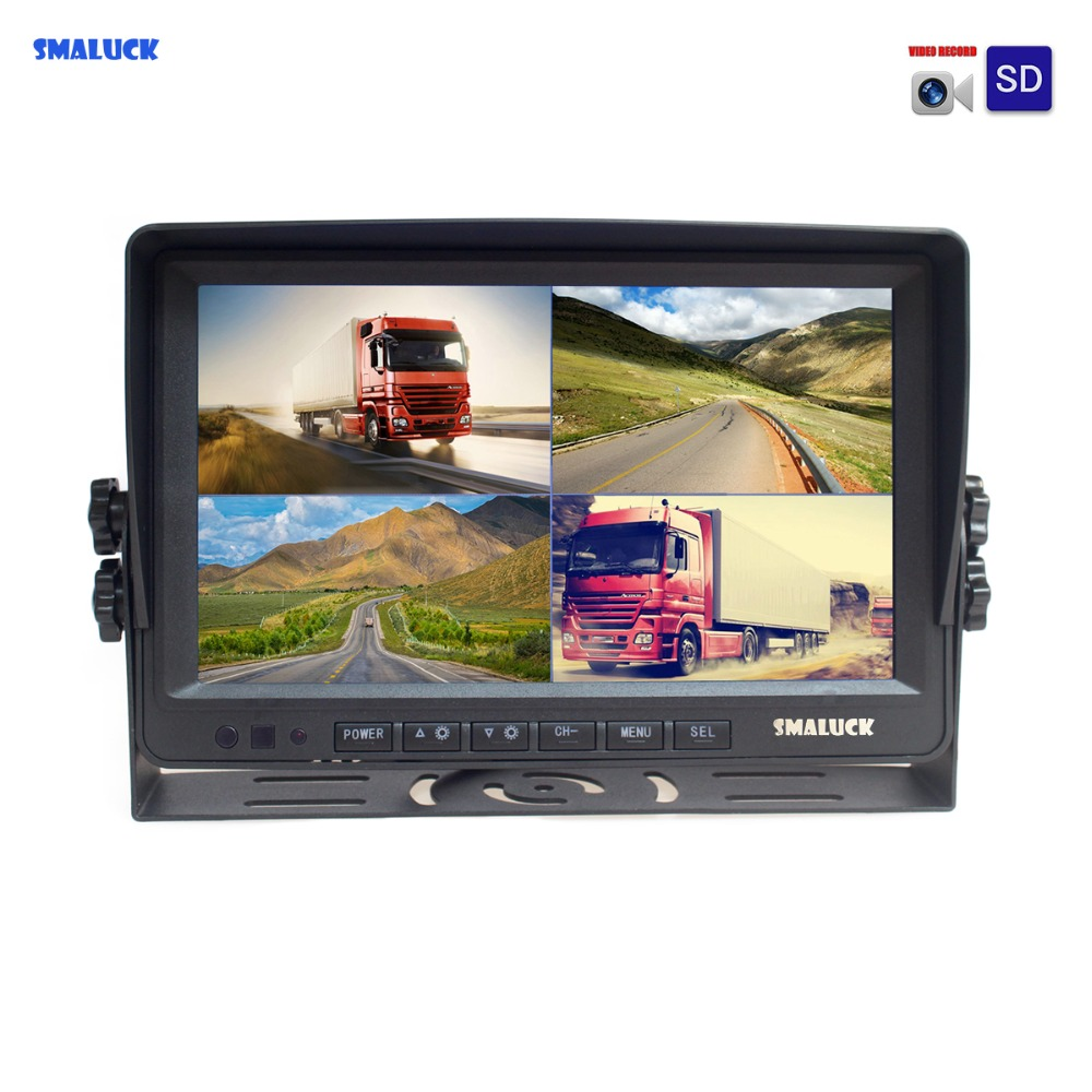 SMALUCK AHD 4PIN 9 pouces 4 Split Quad LCD écran voiture vue arrière moniteur Support 4x1080 P AHD caméra avec carte SD enregistrement vidéo