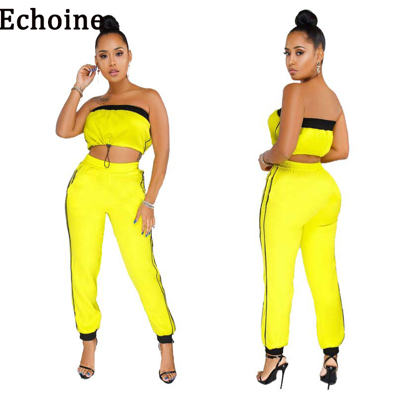 Echoine 2019 Two Piece Set Solid Color Strapless Crop Tops +Long Pants High Elasticity Womens Tracksuit Outfits Set Sportswear