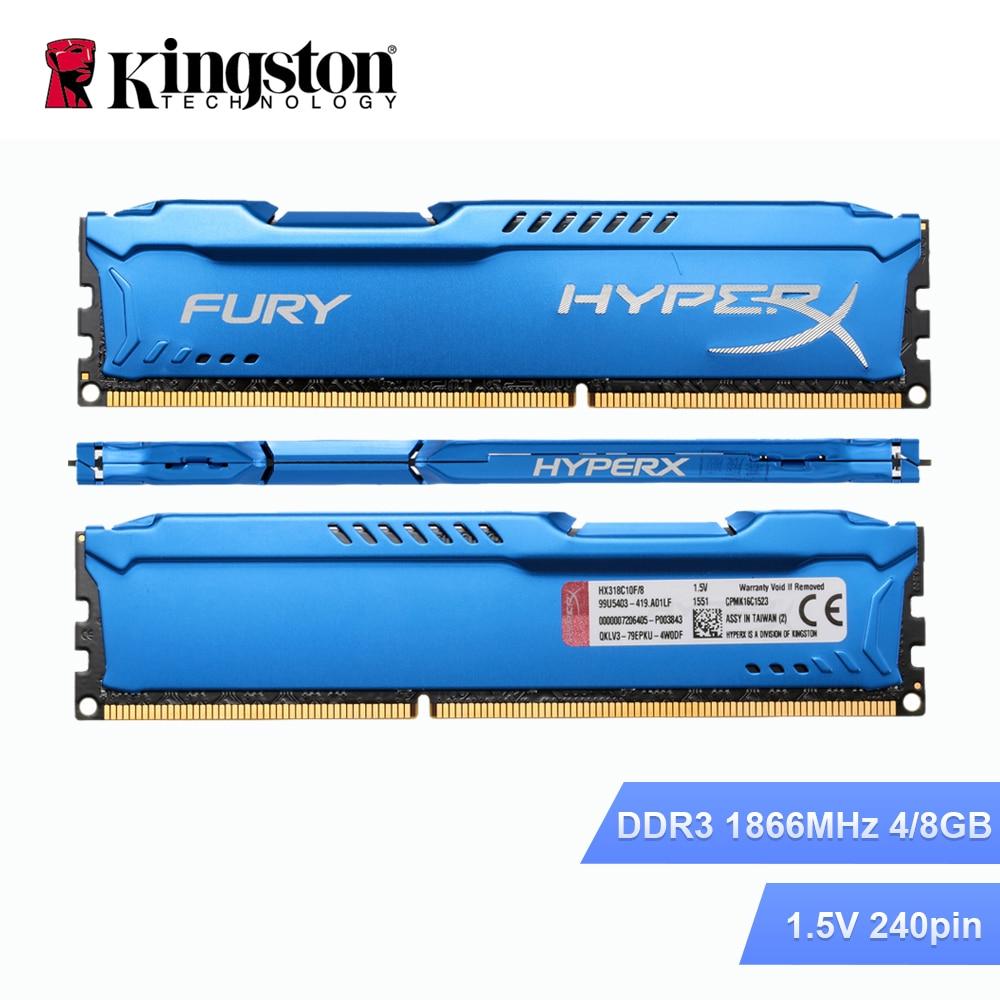 Kingston HyperX DDR3 4 GB 8 GB RAM 1866 MHz memoria RAM interna de memoria para PC de escritorio DIMM 240 pin disipador de calor memoria RAM