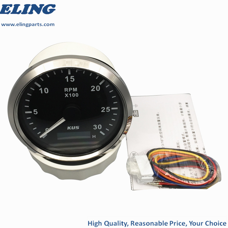 ELING Tachometer Tacho Meter RPM Gauge with Hour Meter 0-8000RPM 85mm with Backlight