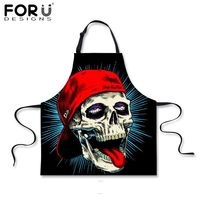 FORUDESIGNS Skull Apron Novelty Black Kitchen Apron Skull Printed For Women Man Chef Cleaning Bibs Floral