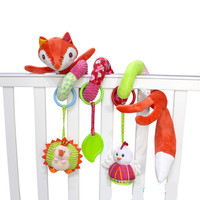 Cute Fox Baby Plush Rattle Toys Baby Crib Bed Hanging Bells Musical Baby Educational Toys Infant