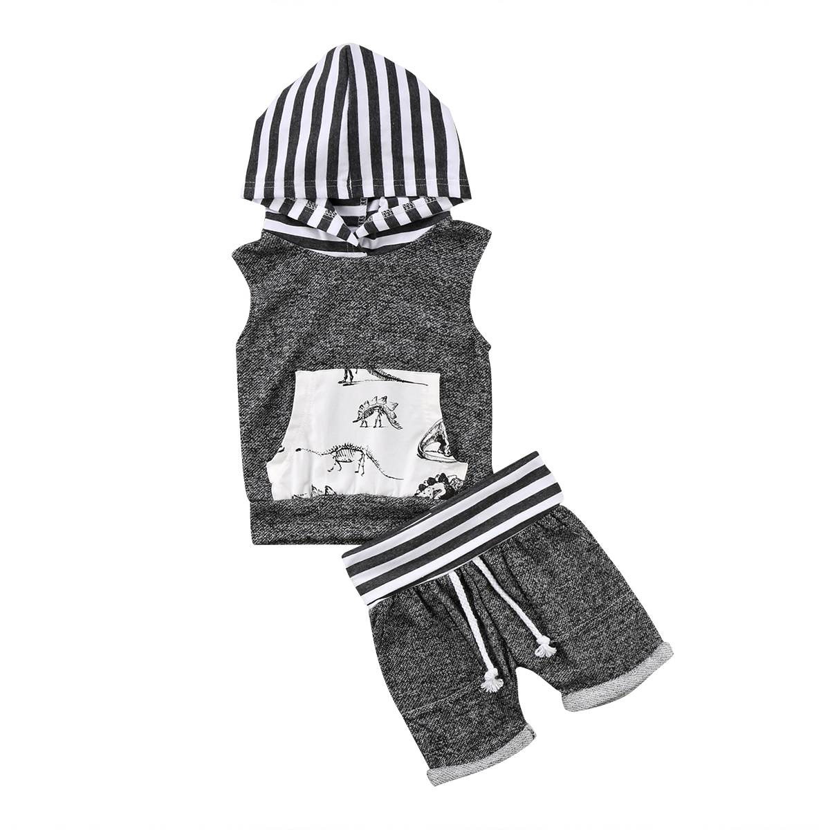 2019 New Casual Toddler Kids Baby Boy Sleeveless Striped Hooded Tank Tops+Shorts Pants 2pcs Kid Outfit Dinosaur Clothes Set