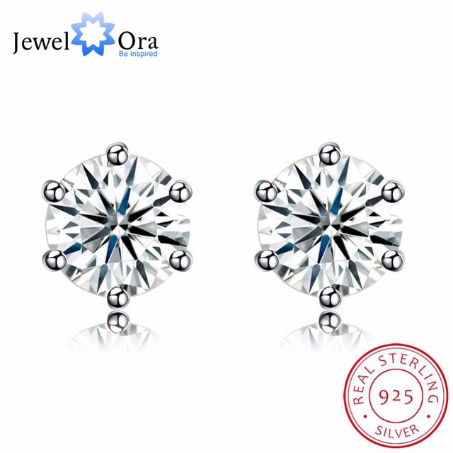 Solid 925 Sterling Silver Stud Earring Six Claws 7mm Round Cubic Zirconia Wedding Earrings For Women