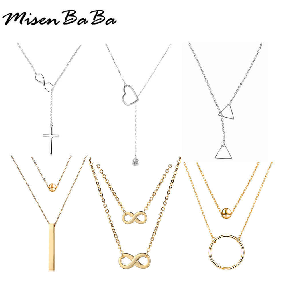 Stainless Steel  Infinite Letter 8 Heart Cross triangle Bar Round Pendant Necklace Clavicle Chains Necklace For Women Best Gift