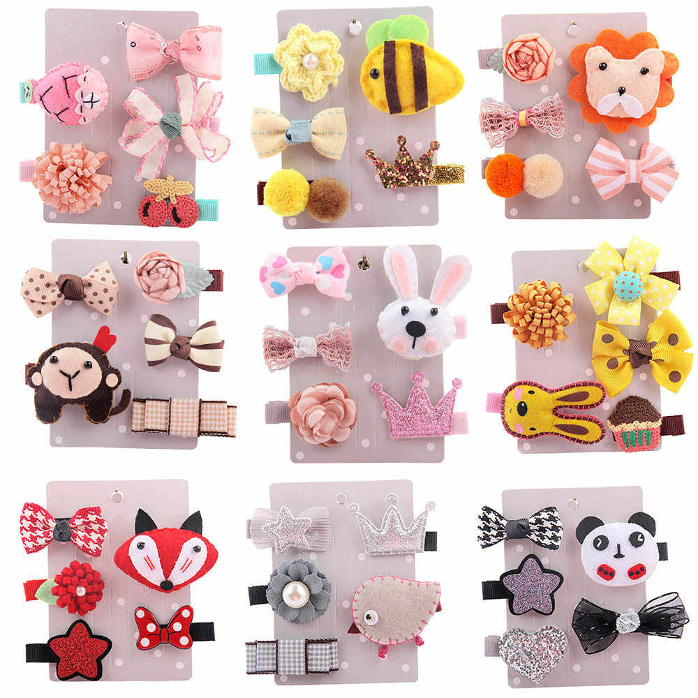 Hot Sale 5 PCS Kids Infant Lovely Cute Fashion Hairpin Baby Girl Cartoon Animal Motifs Clip Set Beautiful Hair Accessories #30