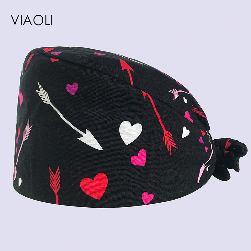 Surgical Cap Dental Salon Male And Female Doctor Nurse Cap Cotton Print Operating Room Work Hat