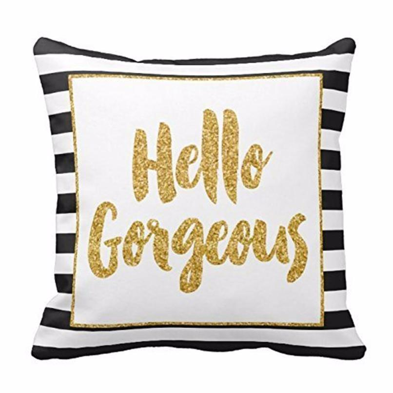 New Qualified Cushion Cover Gold Glitter Stripes Square Throw Pillow Case Cushion Cover Home Decor Levert Dropship dig61010