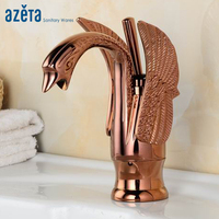 Azeta Rose Gold Faucet Swan Style Basin Faucet Bathroom Brass Deck Mounted Tap Single Handle Wash Basin Mixer Tap AT3006RG