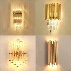 Nowoczesny ze złota kryształowa ściana żyrandol Vintage żarówka edisona wandlamp lamparas de pared światła lampen kinkiet