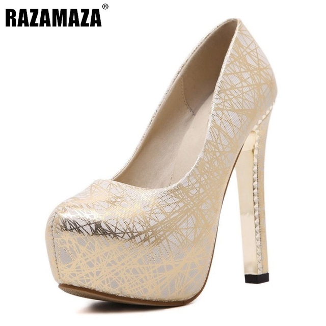 Women High Heels Wedding Shoes Ladies Inside Platform Gold Silver ...
