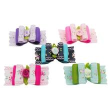 Armi store Handmade Roses Pattern Ribbon Dog Bow 6023006 Pet Rubber Band Jewelry