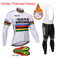 Outdoor Winter Windproof Warm BORA Hansgrohe Cycling Clothing Long Sleeve Maillot Ropa Ciclismo Men Bicycle Cycling Jersey Set