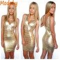Mulheres Vestidos Bandage Nova Moda Decote Em V Da Folha de Ouro Imprimir mini Vestido Moda de Nova Celebridade Prom Vestido de Festa Sexy Bodycon HL7979