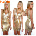 Women Bandage Dresses New Fashion V-neck Gold Foil Print  mini Dress New Fashion Celebrity Prom Party Dress Sexy Bodycon HL7979