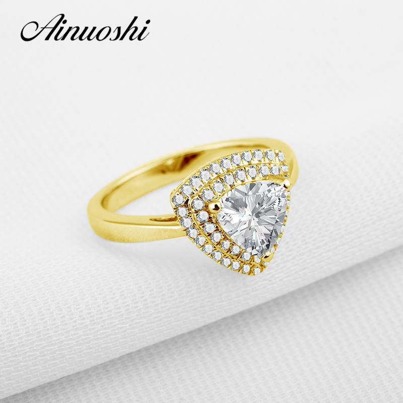 AINUOSHI 10K Gold Yellow Wedding Rings Luxury Trillion Cut Sona Simulated Diamond Anillos Mujer Women Engagement Jewelry Ring ainuoshi 10k solid yellow gold wedding ring sona simulated diamond jewelry lady anillos new flower shape women engagement rings