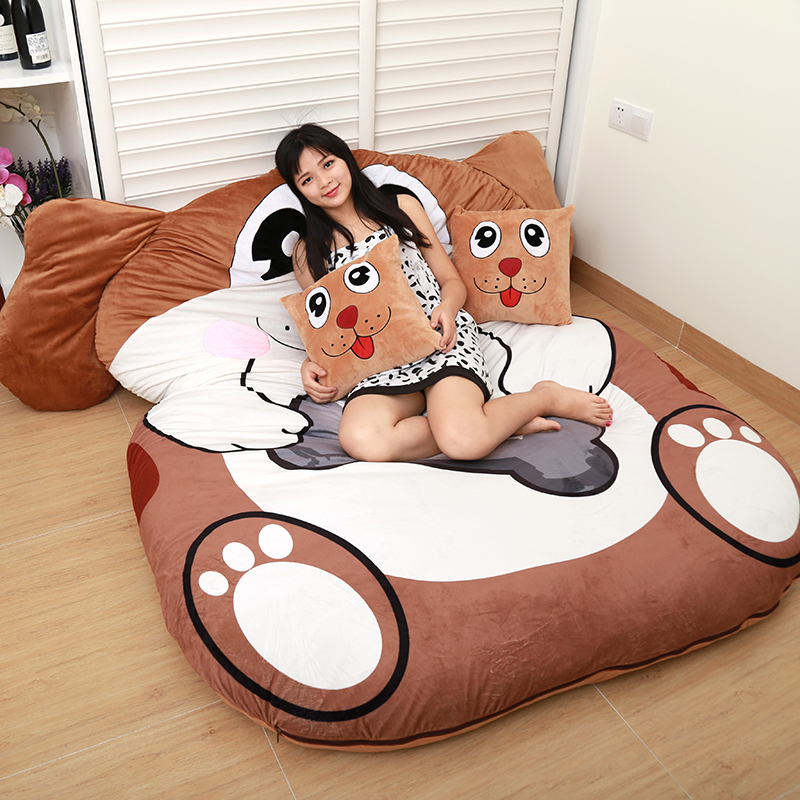 Cartoon Animals Tatami Sofa Bed Double And Kids Bean Bag Home Living Room And Bedroom Bean Bag Bed Warm Sleeping Bag Mattress image