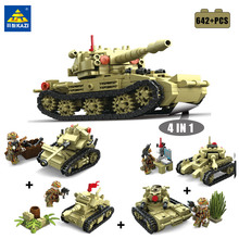 KAZI 4 in 1 Military Building Blocks Bricks Set Army Tank Model Figures with Weapon Brinquedos Enlighten Toys For Children