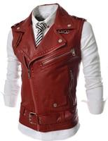 2018 New Motorcycle Leather Jacket Vest Men Fashion Multi Zippers Leather Jackets Sleeveless Vest Male Casual PU Coats