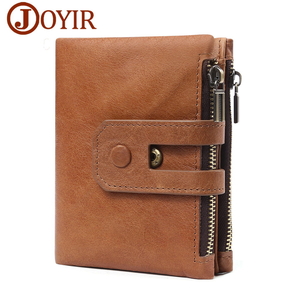 JOYIR Genuine Leather Wallet Male Coin Purse Men Walet Small Zipper&Hasp Male Portomonee Brand Perse Carteira For Rfid New ...