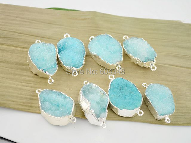 5pcs Silver color Nature Quartz Connectors in Blue color, Fine Drusy Gem Stone Findings Connectors, Pendant(China)