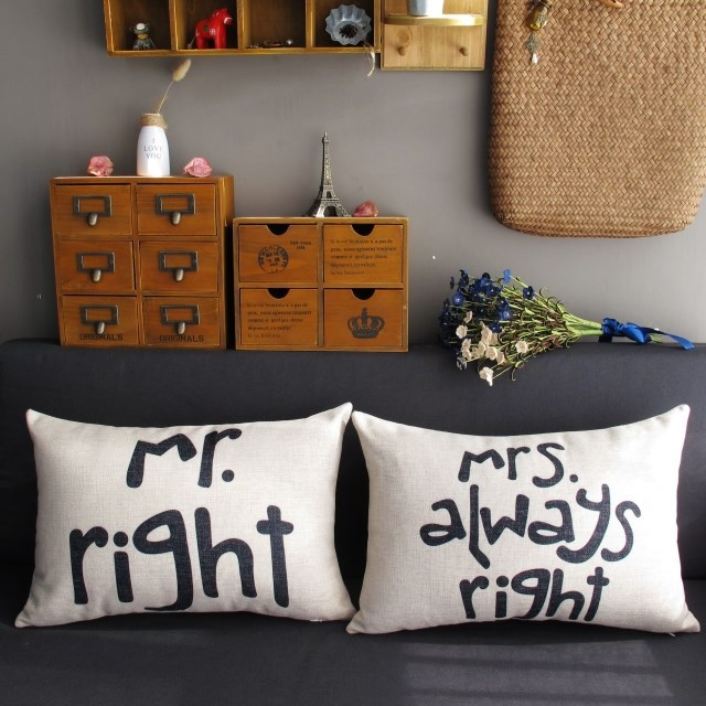 Cuscini Mr Right Mrs Always Right.Mr Right Mrs Always Right Couple Wedding Present Cotton Linen