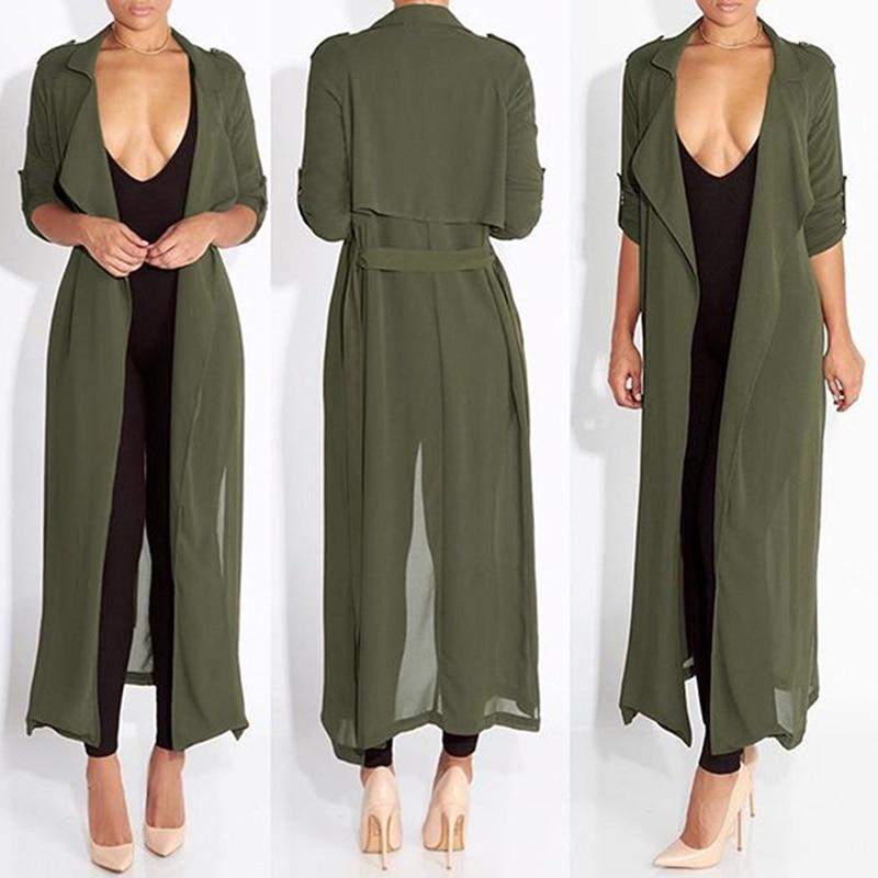 Summer Women Chiffon Cardigan Long Sleeve Sexy See-Through Ladies Lapel Long Jacket Blouse
