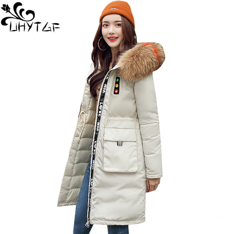 UHYTGF Women   Parka   Long Coat Winter Down Jacket Top fur collar Hooded Thicke Down Cotton Warm Outerwear M-3XL Plus size coat 734