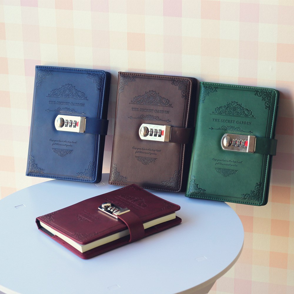 A5 Notebook Vintage Faux Leather Writing Note book Travel Journal Diary Memos Planner Composition Book With Password Lock Gift writing