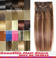 Más grueso cabeza llena de seda suave remy brasileña del pelo humano Clips en / sobre extensiones 12 unids 300 g Set #4 / 27 color mixto