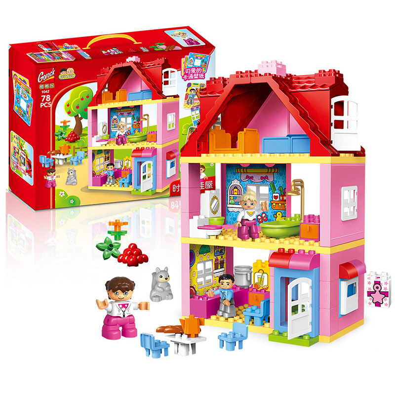 GOROCK 78 PCS Large Size Pink villa Girls Big Building Blocks set Kids DIY Bricks Model Toys for Children Compatible With Duploe 26pcs highway bridge blocks set large train railway building blocks kids diy toys compatible with duploe children gift