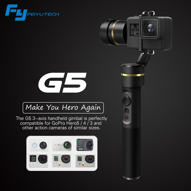 Feiyu G5 3-Axis Handheld Gimbal FY G5 stabilize for GoPro Hero 5 4 3 and Similar Sizes Action Camera Splash-proof Selfie Stick