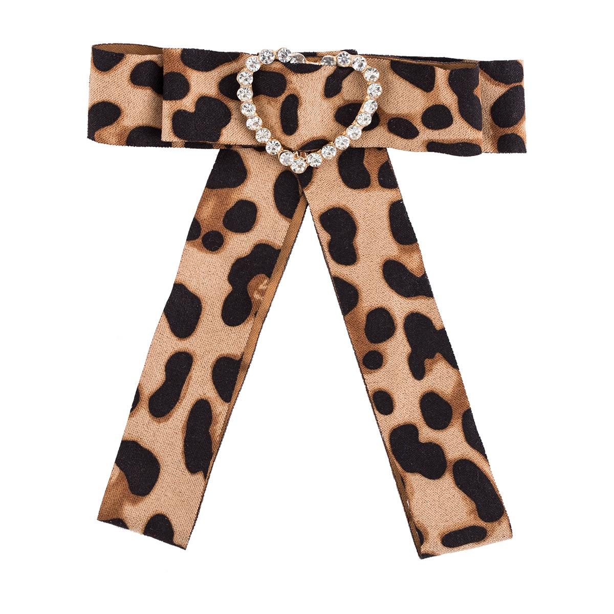 New Sexy European Brooch Pins Long Big Leopard Print Fabric Bowties Women Crystal Heart Bow Ties Neck Collar Wholesale Christmas