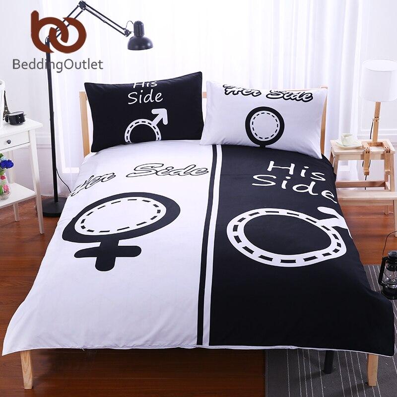 Beddingoutlet 3 Pieces Black White Bedding Set His Amp Her