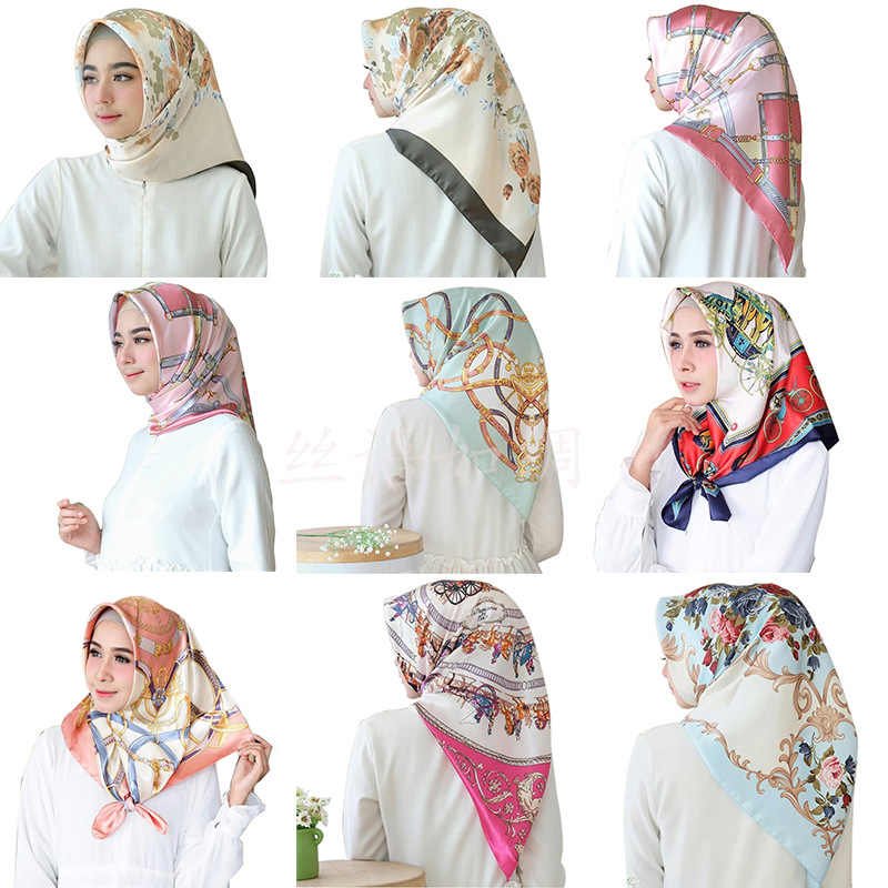 Women hijab scarf Fashion Imitation Silk Scarves large Square Muslim Scarf Printed Different Colors Lady Shawl