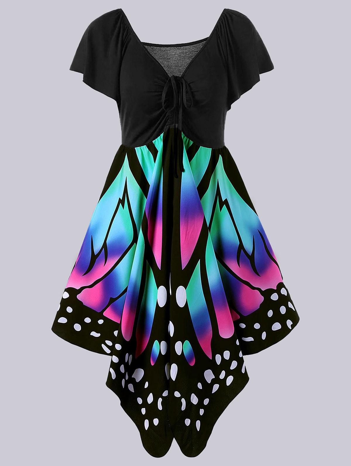 Gamiss Hot Schmetterling Form Frauen Mode Kleid Plus Größe 5XL V ...