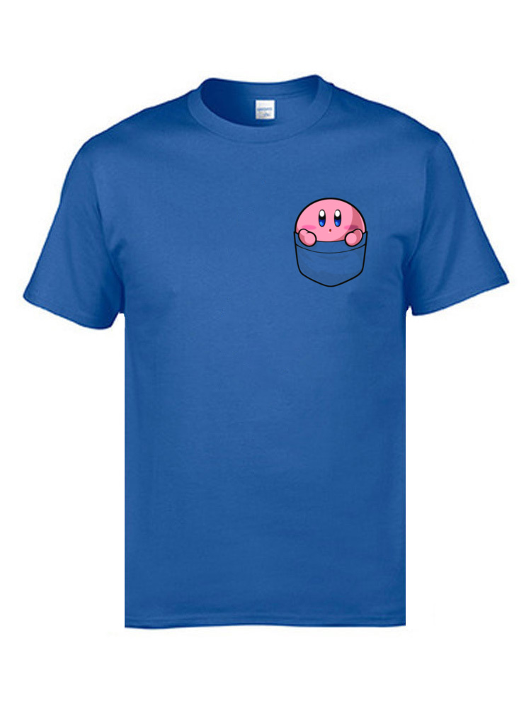 Men T-Shirt Pocket Kirby 8006 Normal Tops T Shirt 100% Cotton Round Collar Short Sleeve Classic Clothing Shirt NEW YEAR DAY Pocket Kirby  8006 blue