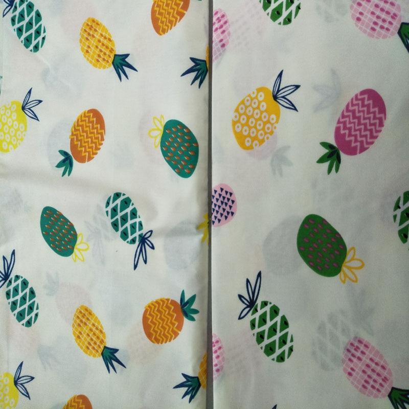 100/% Cotton Fabric Modern Dressmaking Quilting Aquamarine Golden Pineapples