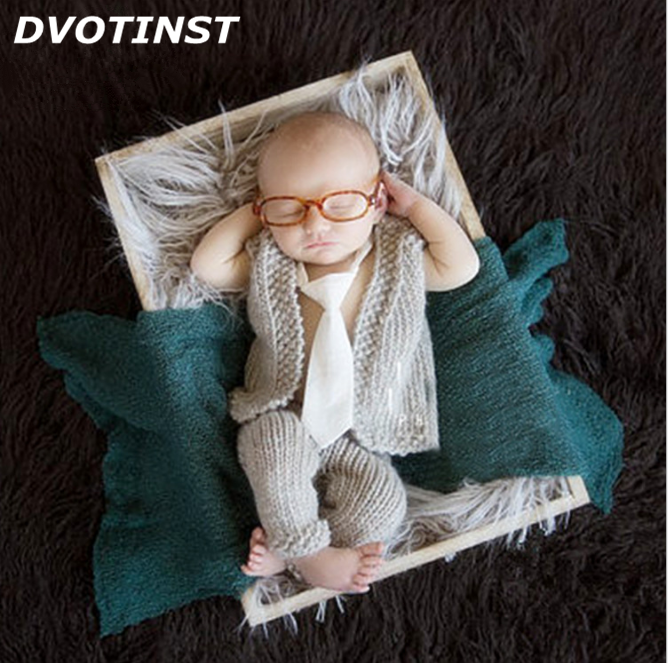 Dvotinst Baby Photography Props Crochet Knit Newborn Vest+Pants+Glasses Fotografia Accessories Studio Shoot Photo Shower Gift