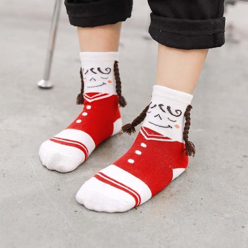Kids Ankle Socks Cartoon cute smiley braid Cotton Socks Boys Girls Children Socks 1-10 T
