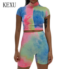 KEXU New Slimming Tie-dye Two Pieces Sets Jumpsuits Summer Bodycon Rompers Womens Playsuits Sexy Hollow Out Club Party Overalls