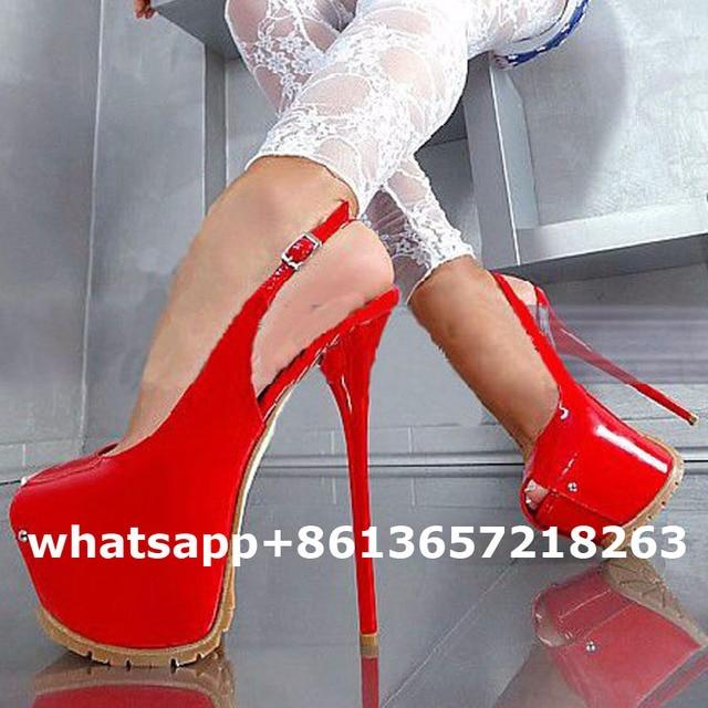 3a225f2e374 LTTL Sexy Peep Toe Women High Heels Platform 16cm Ultra High Heel Patent  Leather Party Shoes Slingback Women Pumps