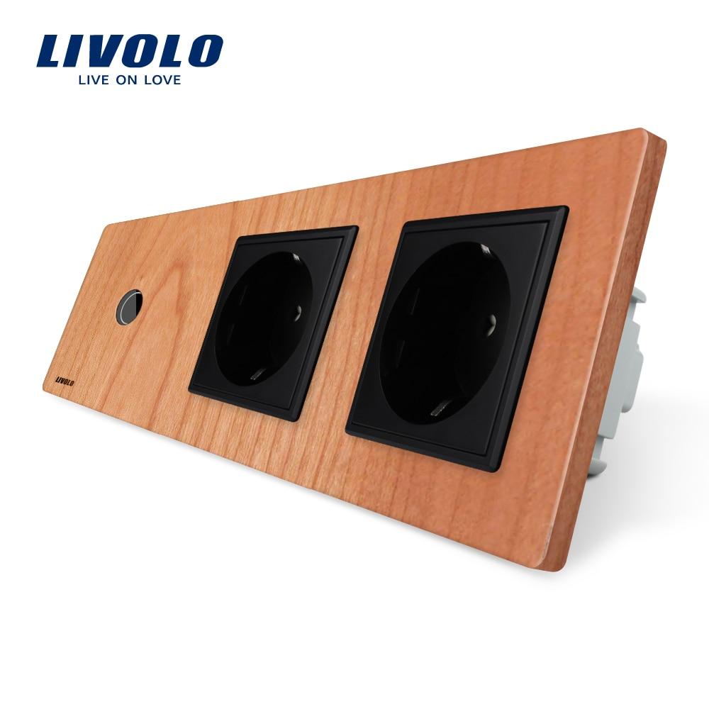 Livolo New Prise D'alimentation, Standard de L'UE, cerise Bois Panneau de Sortie, 2 Gang Mur Prises avec Interrupteur Tactile, C701-21/C7C2EU-21