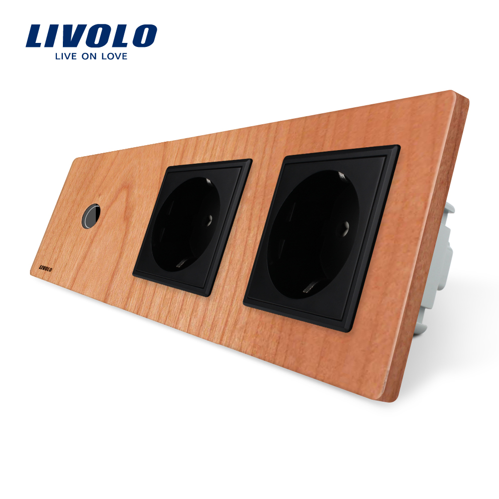 Livolo nouvelle prise de courant, norme EU, panneau de sortie en bois de cerisier, 2 prises murales avec interrupteur tactile, C701-21/C7C2EU-21